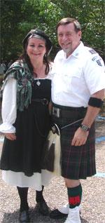 Couple in authentic Scottish attire